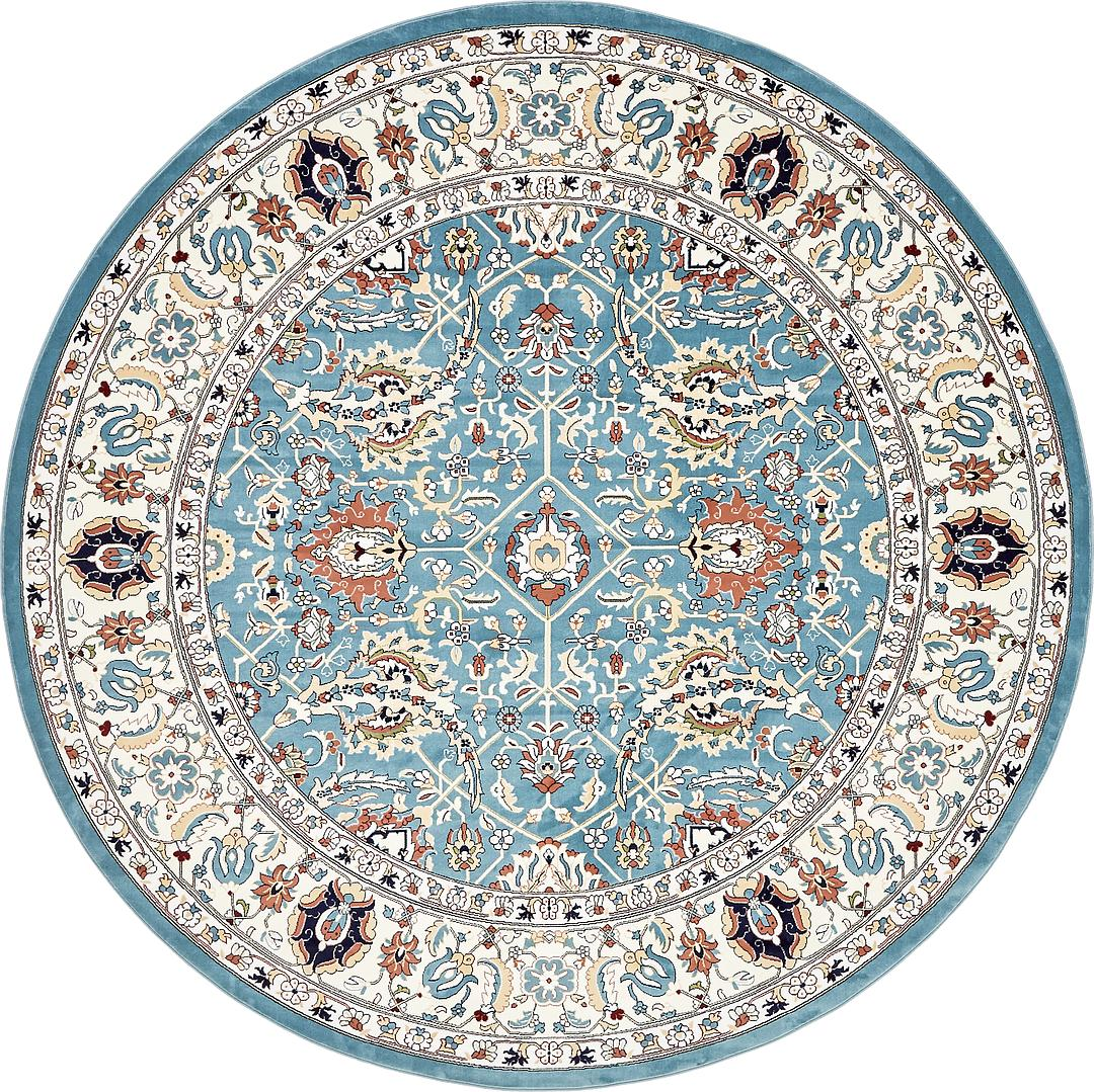 Blue 10 X 10 Tabriz Design Round Rug Area Rugs Esalerugs