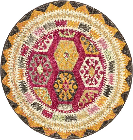 Red 100cm X 100cm Santa Fe Round Rug Area Rugs Irugs Ch