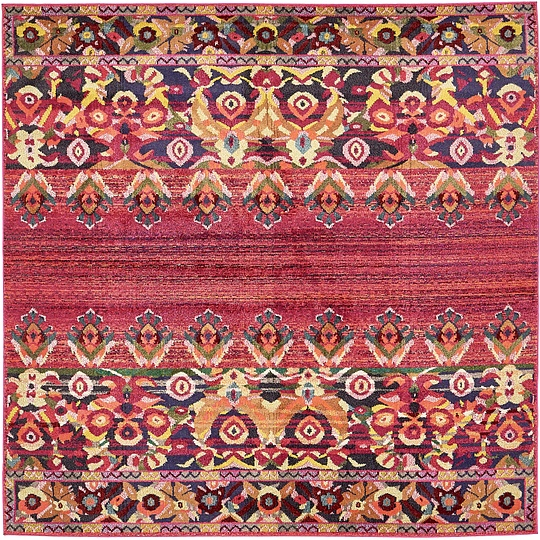 Red 8' X 8' Palazzo Square Rug