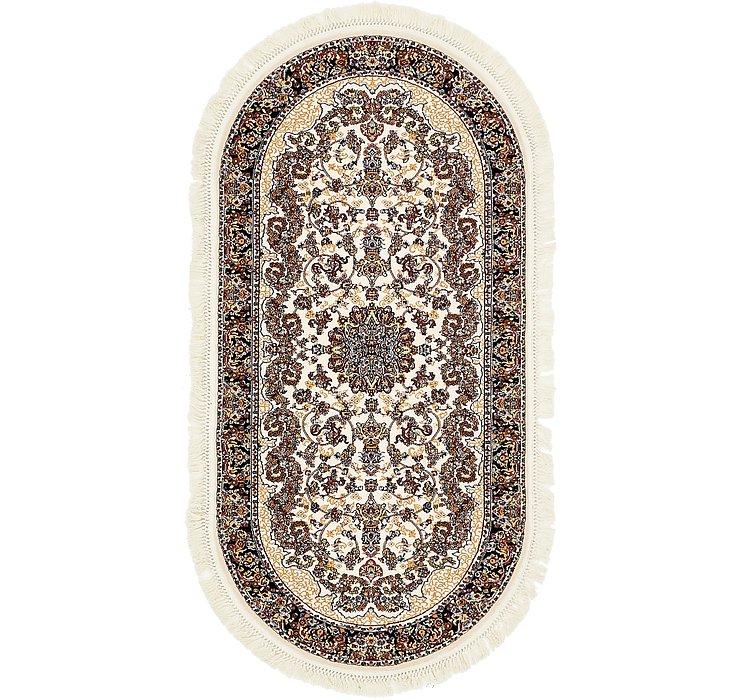 3' 3 x 6' 7 Mashad Design Oval Rug