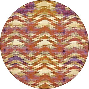 Unique Loom 8' x 8' Outdoor Modern Round Rug