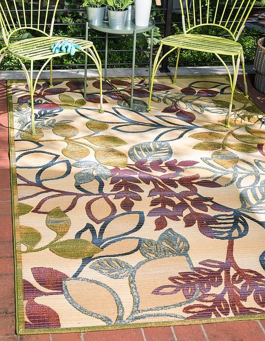 Cream  5' 3 x 8' Outdoor Botanical