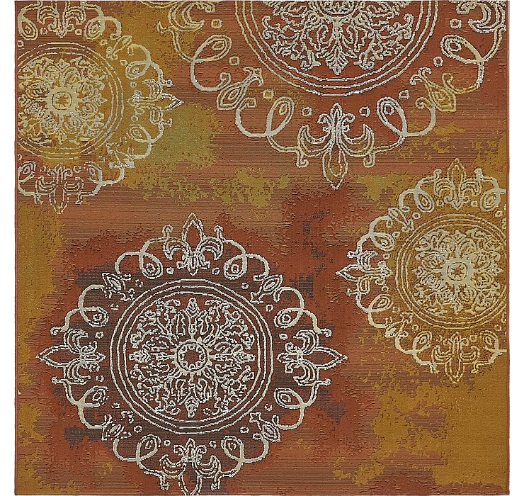 Rust Red Outdoor Modern Square Rug