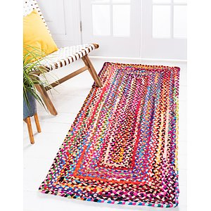 Unique Loom 2' 6 x 6' Braided Chindi Runner Rug