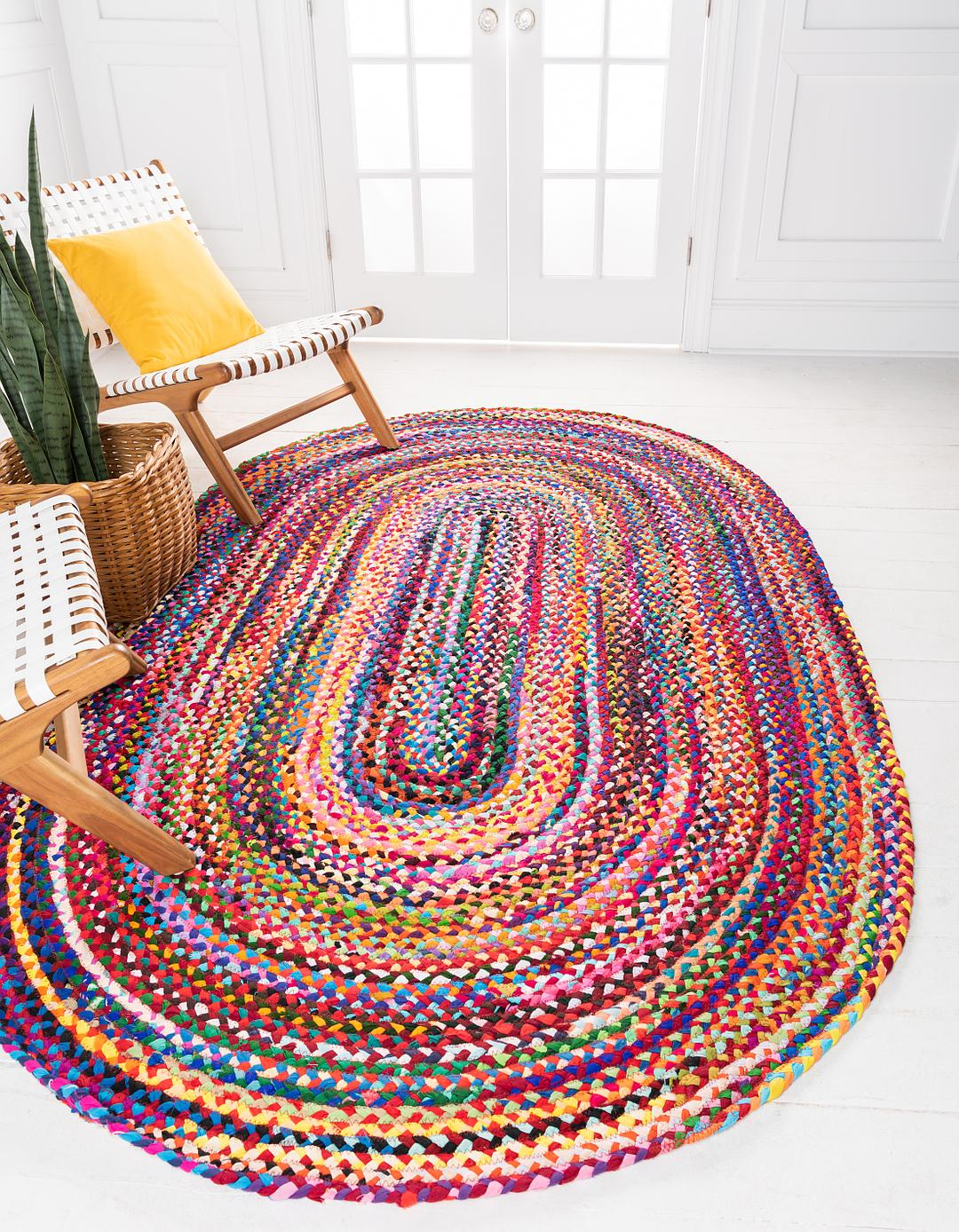 Multi 8 X 10 Braided Chindi Oval Rug Area Rugs Rugs Com