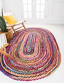 100cm x 152cm Braided Chindi Oval Rug thumbnail image 1