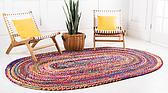 3' 3 x 5' Braided Chindi Oval Rug thumbnail image 2