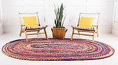 3' 3 x 5' Braided Chindi Oval Rug thumbnail image 3