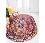 Link to Unique Loom 5' x 8' Braided Chindi Oval Rug