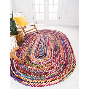 Unique Loom 8' x 10' Braided Chindi Oval Rug