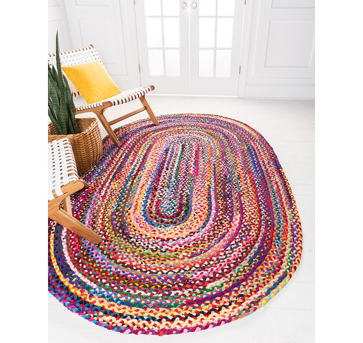 8' x 10' Braided Chindi Oval Rug