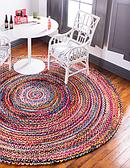 Unique Loom 3' 3 x 3' 3 Braided Chindi Round Rug thumbnail image 1