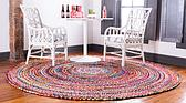 Unique Loom 3' 3 x 3' 3 Braided Chindi Round Rug thumbnail image 2