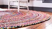 8' x 8' Braided Chindi Round Rug thumbnail
