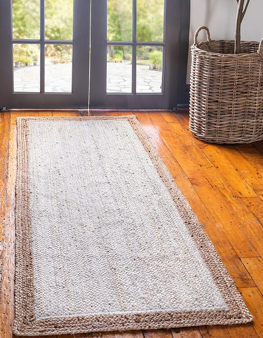White 75cm X 183cm Braided Jute Runner Rug Area Rugs