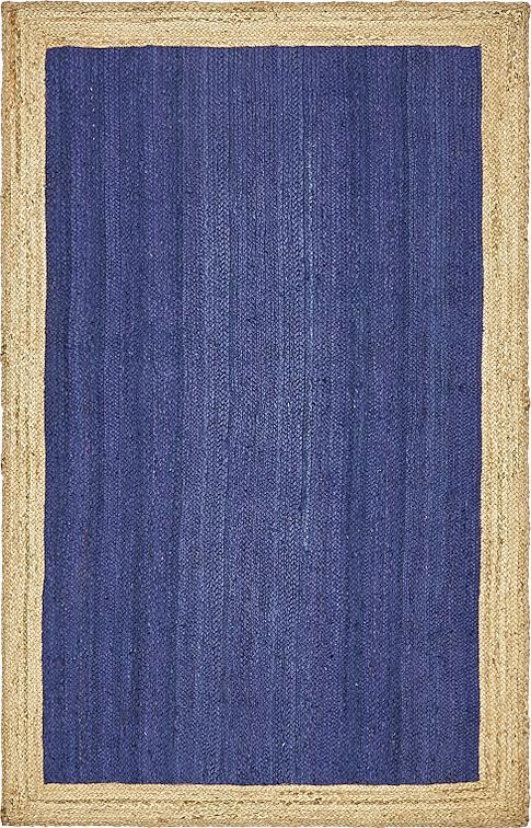 Navy Blue 5 X 8 Braided Jute Rug Area Rugs Irugs Uk
