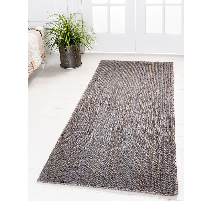 Gray Braided Jute Runner Rug