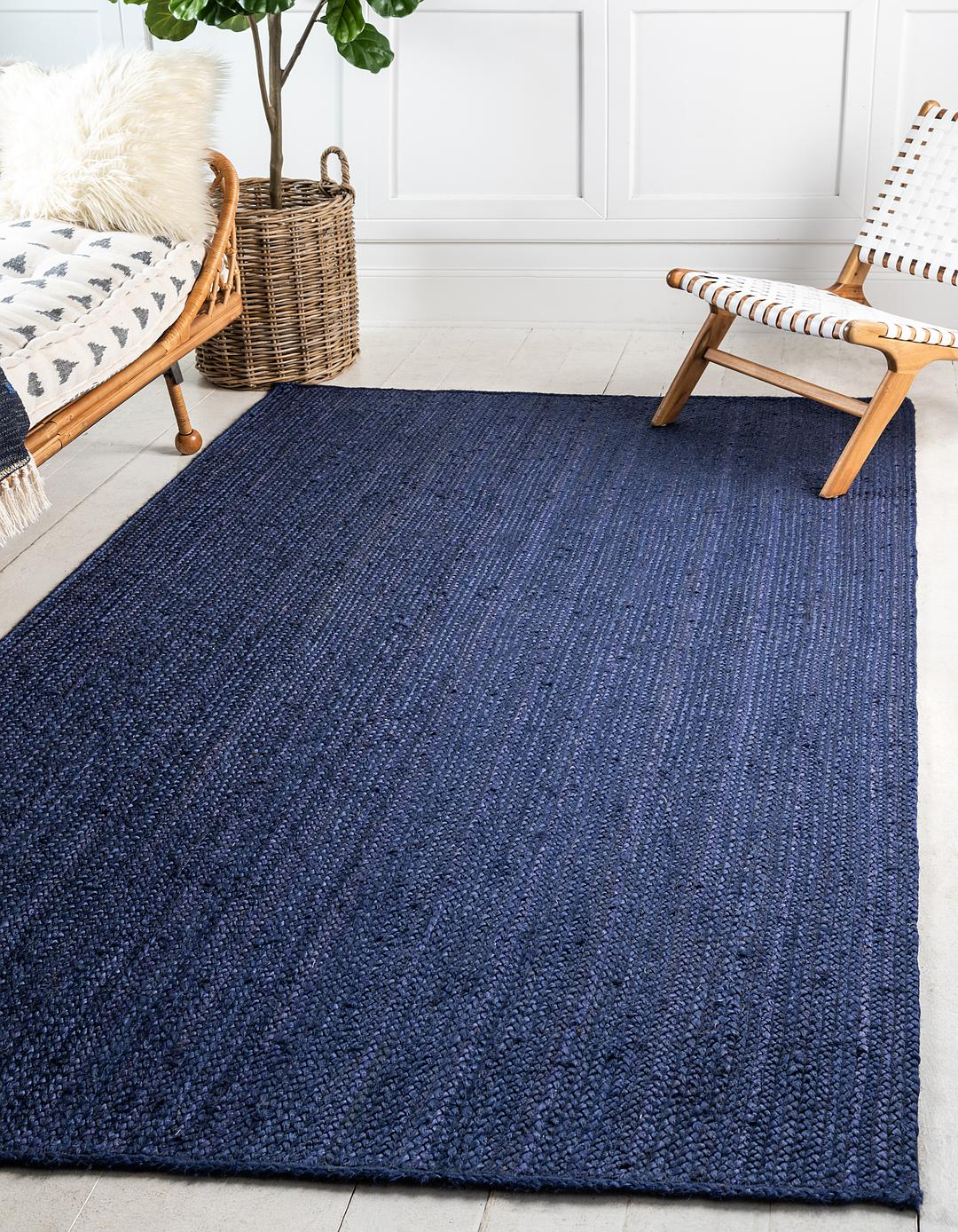 Navy Blue 8 X 10 Braided Jute Rug Area Rugs Esalerugs