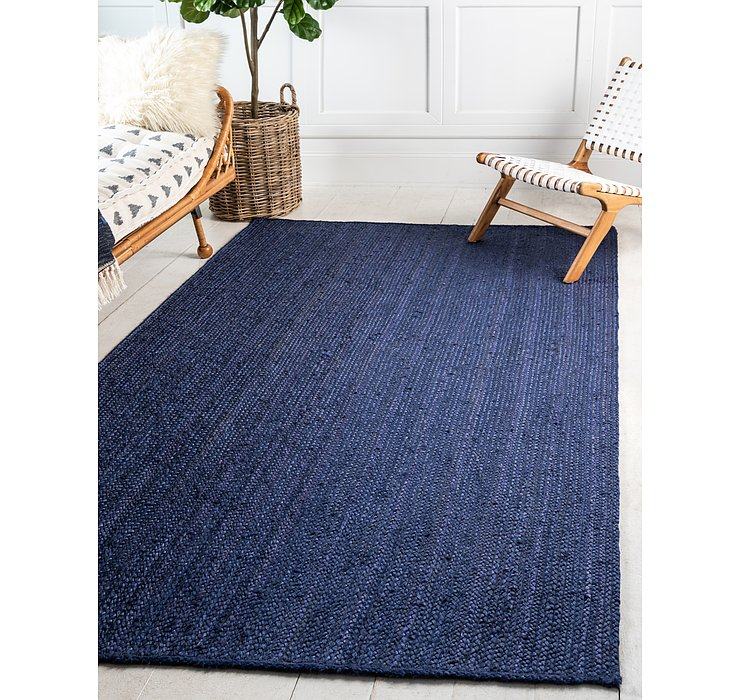Navy Blue Braided Jute Rug