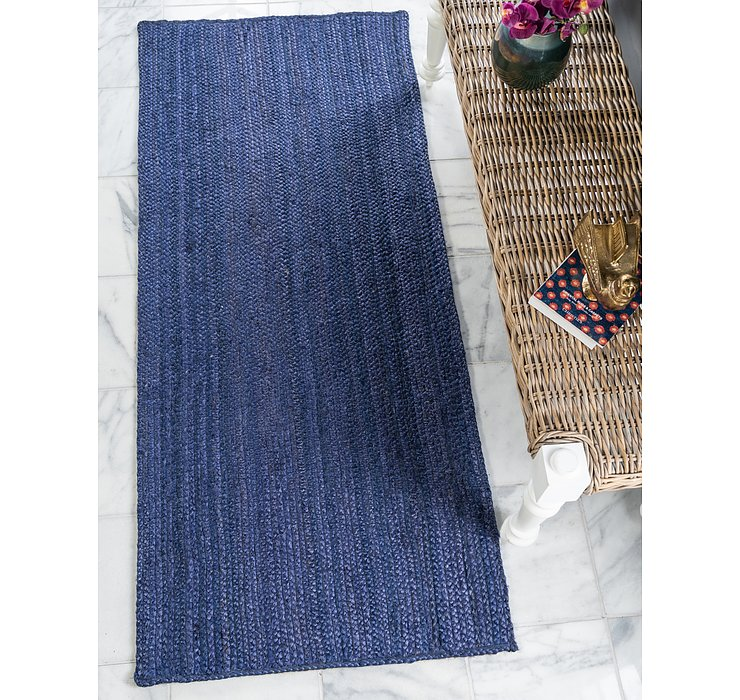 Navy Blue Braided Jute Runner Rug