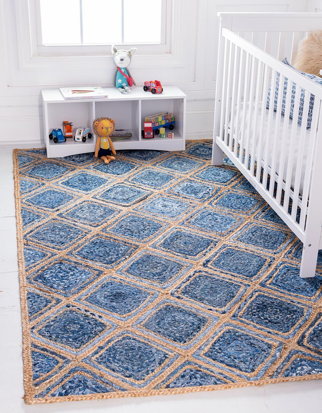 Blue 9 X 12 Braided Jute Rug Area Rugs Esalerugs