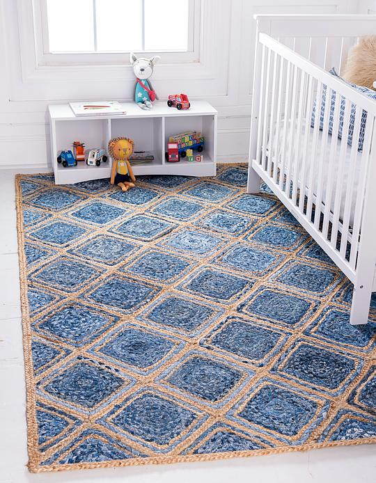 Blue 8 X 10 Braided Jute Rug Area Rugs Esalerugs