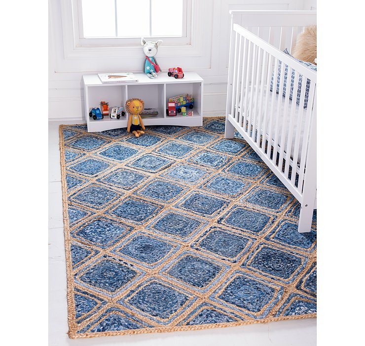 Blue Braided Jute Rug