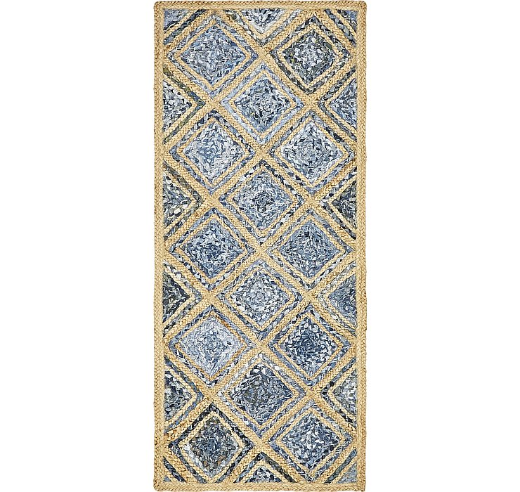 Blue Braided Jute Runner Rug