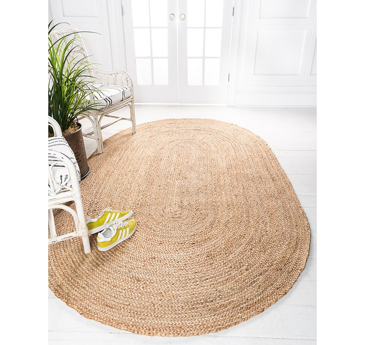 Unique Loom 8' x 10' Braided Jute Oval Rug