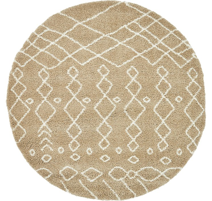 Taupe Morroccan Shag Round Rug