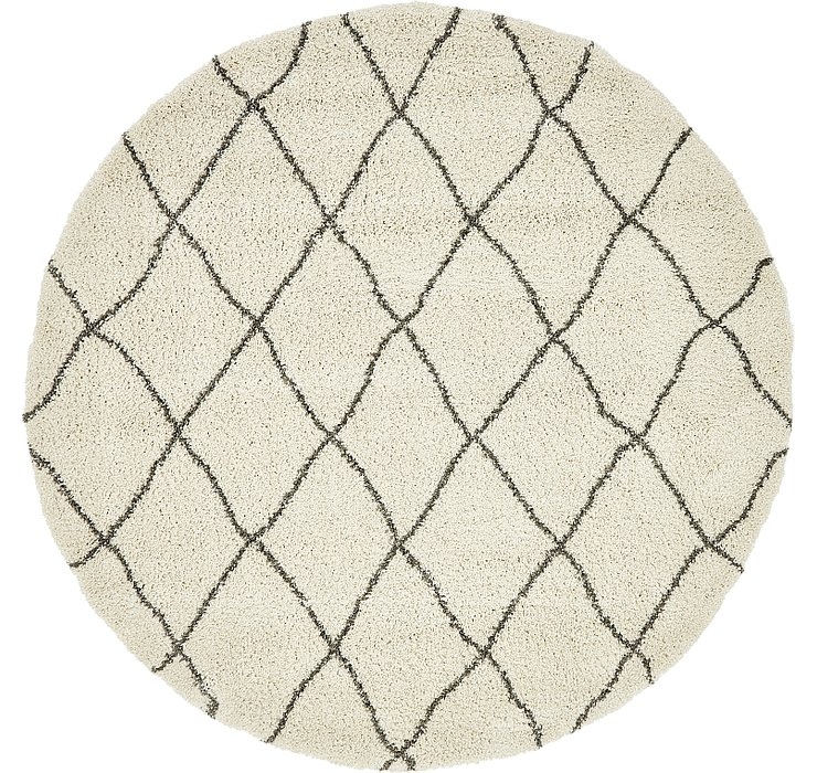 Pure Ivory Morroccan Shag Round Rug