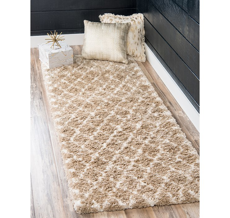 Taupe Morroccan Shag Runner Rug