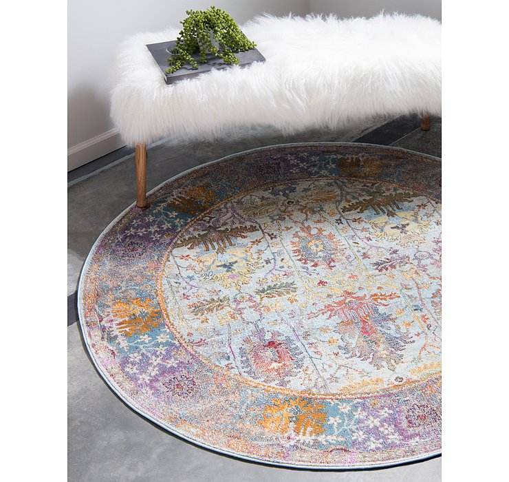 Light Blue Santiago Round Rug