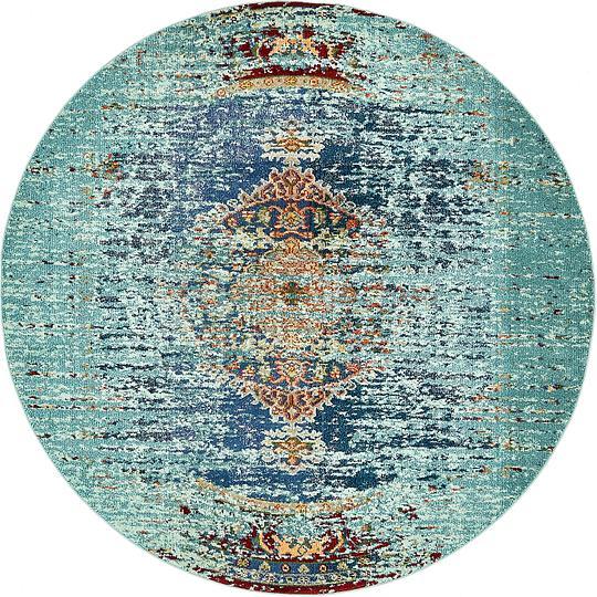 Turquoise 8' X 8' Arte Round Rug