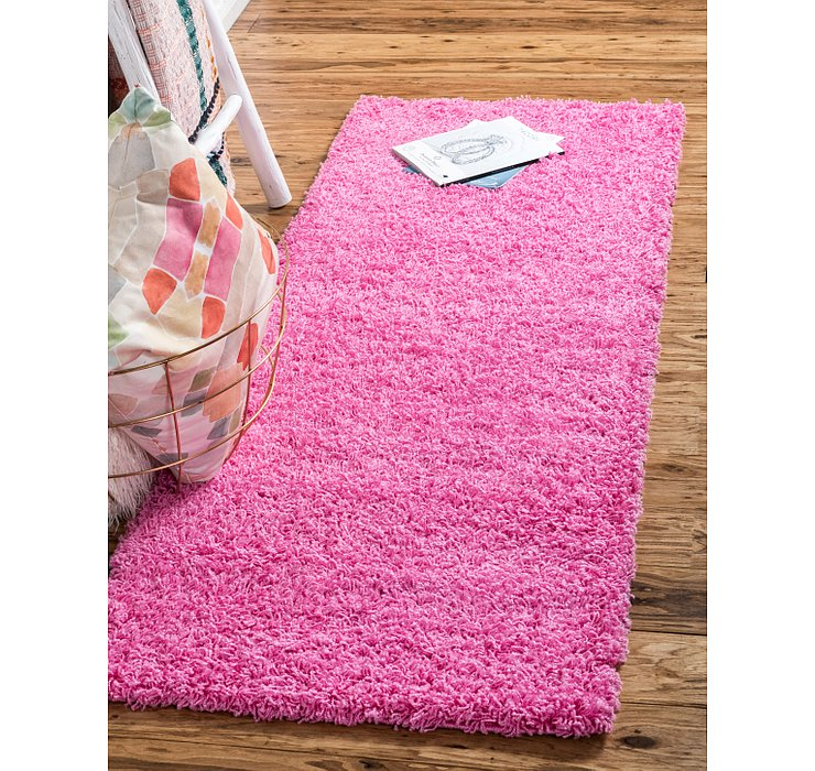 Taffy Pink Solid Shag Runner Rug