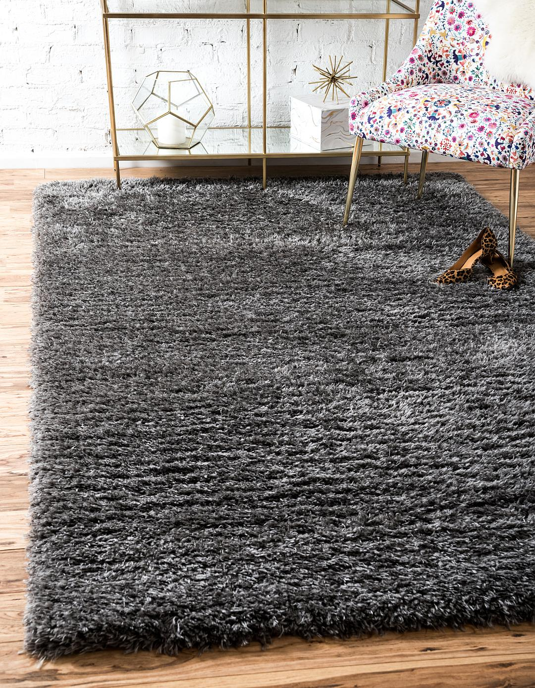 charcoal bedroom silver thick rug patterned area room fluffy throw floor gray lurex modern black living shiny shimmer shaggy soft products plush carpet grey harmony shag pile sparkle large