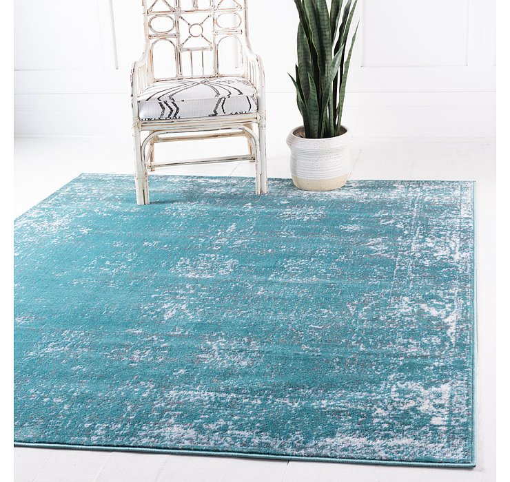 Turquoise Monte Carlo Square Rug