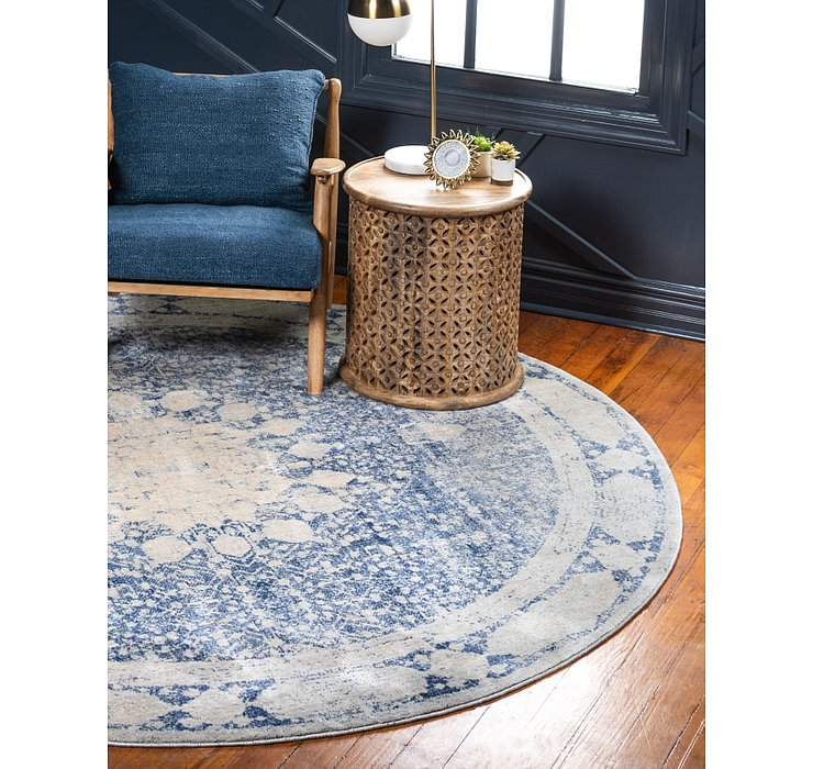 Navy Blue Oxfordshire Round Rug