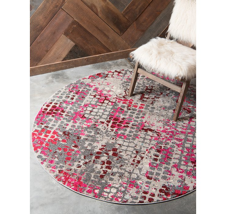 Pink Theia Round Rug