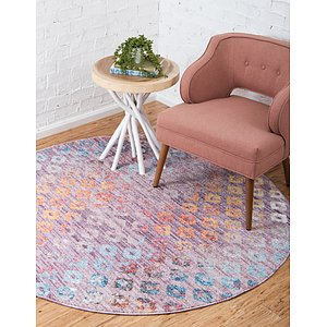 Unique Loom 6' x 6' Rainbow Round Rug