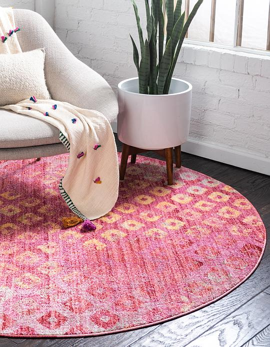 Pink 6\' x 6\' Prism Round Rug | Area Rugs | eSaleRugs