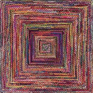Unique Loom 8' x 8' Braided Chindi Square Rug