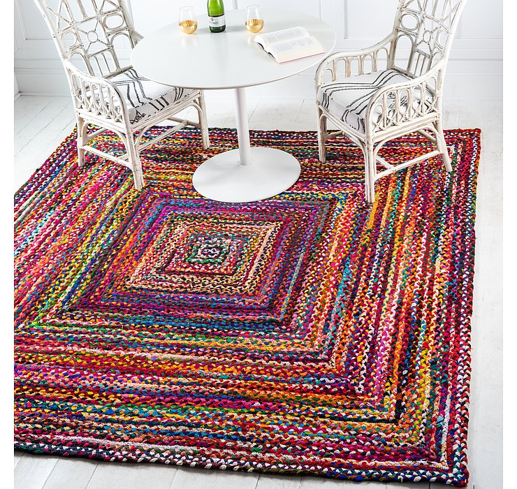 245cm x 245cm Braided Chindi Square Rug