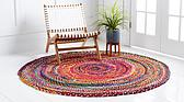 Unique Loom 3' 3 x 3' 3 Braided Chindi Round Rug thumbnail image 10
