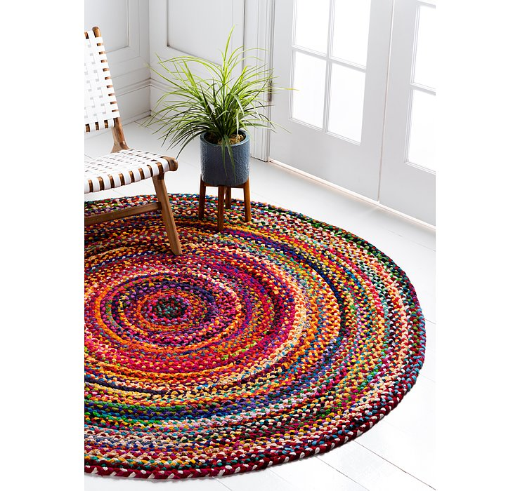 6' x 6' Braided Chindi Round Rug