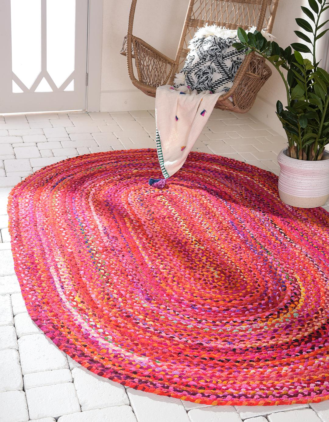 Red 8 X 10 Braided Chindi Oval Rug Area Rugs Rugs Com