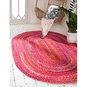 Unique Loom 3' 3 x 5' Braided Chindi Oval Rug