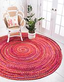 Unique Loom 8' x 8' Braided Chindi Round Rug thumbnail image 1