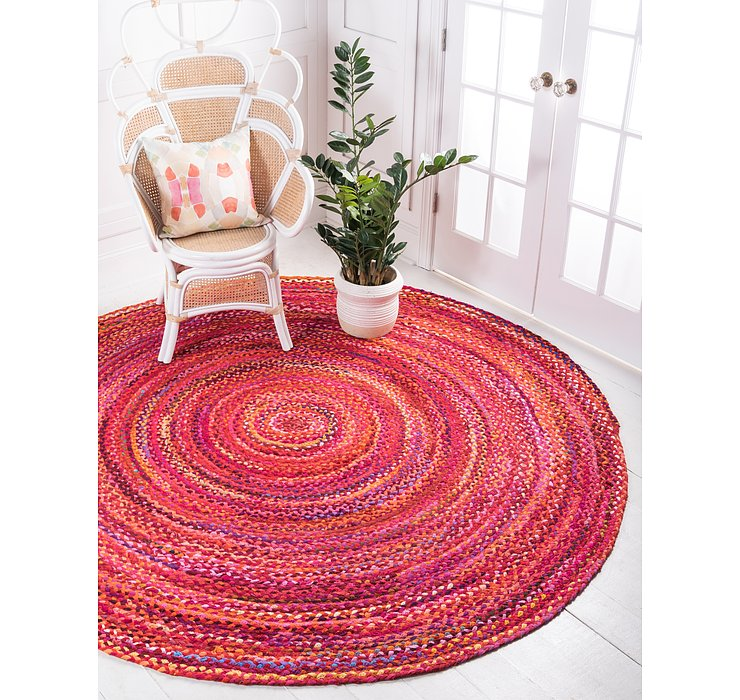 8' x 8' Braided Chindi Round Rug