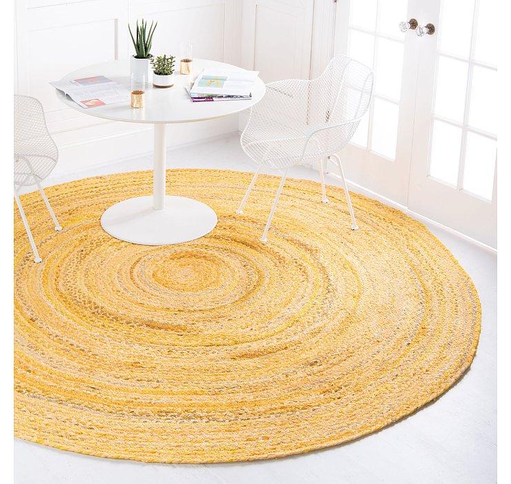 Yellow Braided Chindi Round Rug